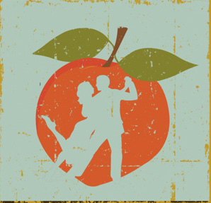 Graphic illustration featuring a peach with a cut-out silhouette of tango dancers.