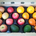 CSA box with apples, oranges, tangelos, avocados.