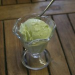 A single scoop of avocado ice cream in a glass dish.