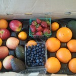 CSA Box filled with blueberries, strawberries, apples, oranges, tangerines, and avocados
