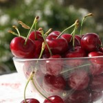 A glass bowl with sweet red Brooks cherries.